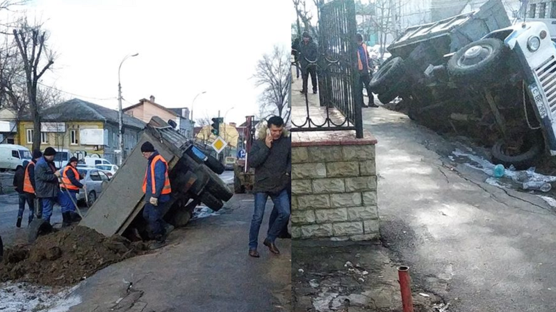 В столице грузовик провалился под землю
